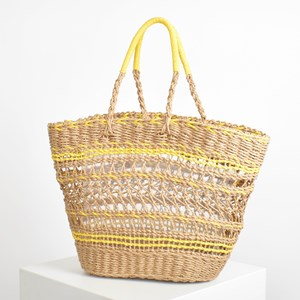 Contrast Paper Weave Cut Out Tote Basket