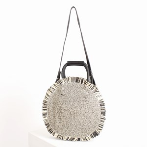 Fringe Edge Round Woven Basket Bag