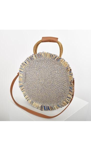 Fringe Edge Round Woven Basket Bag