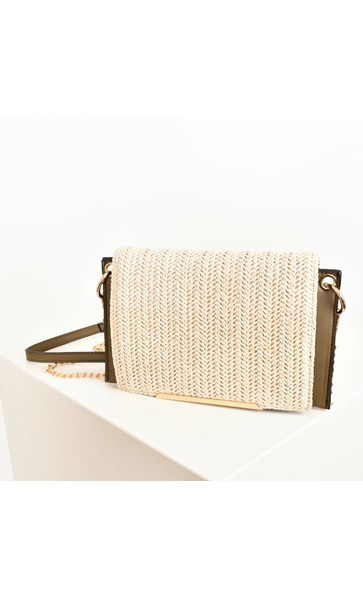Woven Fold Over Winged Edge Small Bag