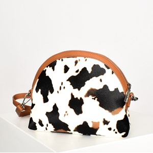 Western Cow Print Georgie Curved Camera Bag