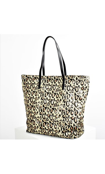 Leopard Confetti Print Sequin Tote