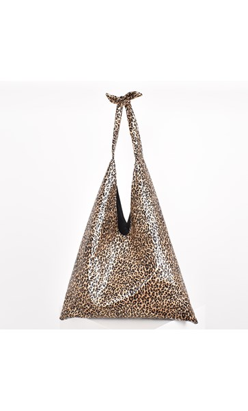 Metallic Leopard Tie Handle Slouch Tote