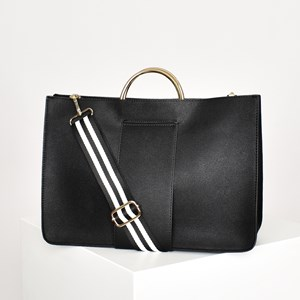 Striped Webbing Handle Metal Ring Handbag
