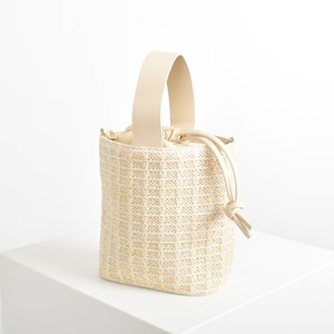 Faux Weave Wristlet Small Bucket Bag