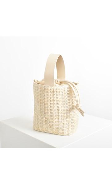 Faux Weave Wristlet Small Bucket Bag