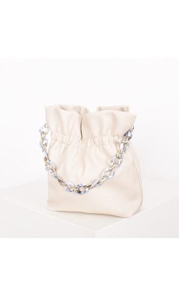 Small Gathered Resin Chain Bucket Bag