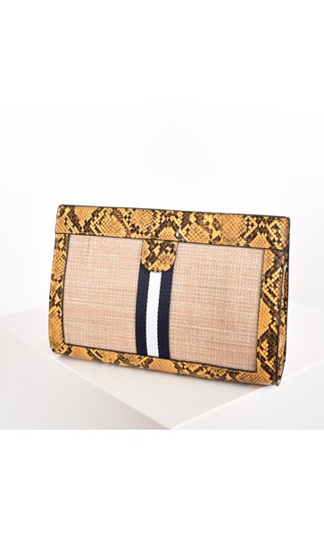 Weave Webbing & Snake Trim Cross Body Bag