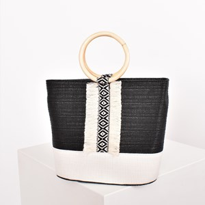 Tribal Fringe Ring Handle Tote
