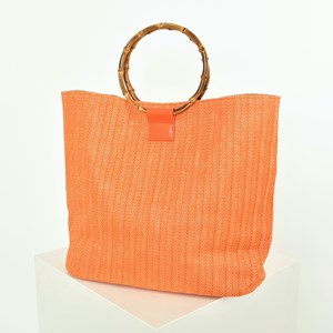 Self Stripe Faux Weave Bamboo Ring Tote