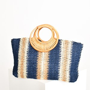 Ornate Rattan Ring Handle Weave Tote