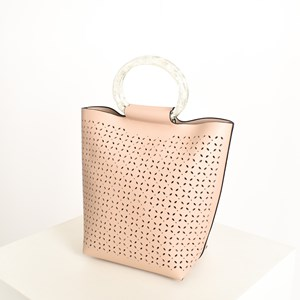 Almond Cut out Resin Handle Mini Tote