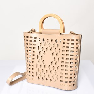 Diamond Cut out Timber Handle Mini Tote
