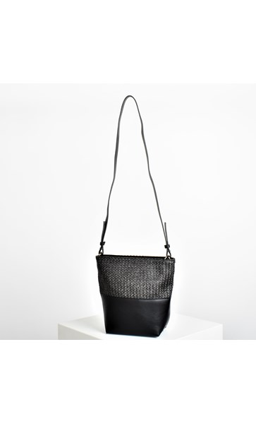 Weave Splice Zip Top Small Bucket Bag