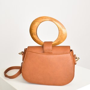 Timber Handle Mini Cross Body Bag
