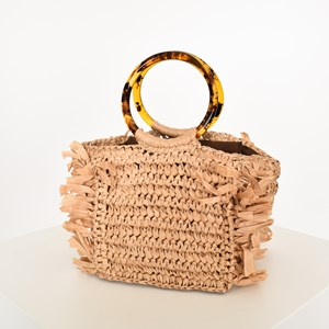 Resin Ring Raffia Fringe Small Bag
