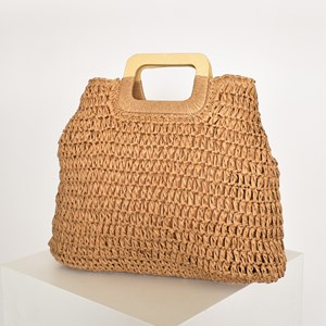 Paper Weave Timber Handle Basket Bag