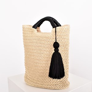 Woven Contrast Handle Tassel Tote Bag