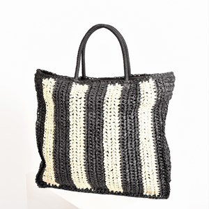 Raffia Stripe Basket Tote Bag