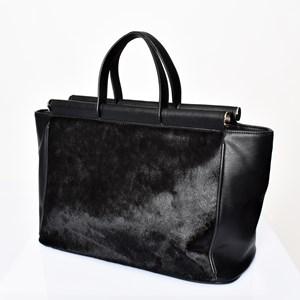 Hide Panel Metal Rods Handbag