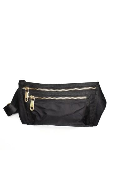 Wet Look Webbing Strap Zip Front Belt Bag