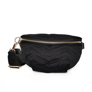 Wet Look Webbing Strap Quilted Belt Bag