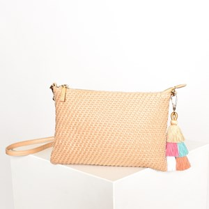 Weave & Double Tassel Cross Body Bag