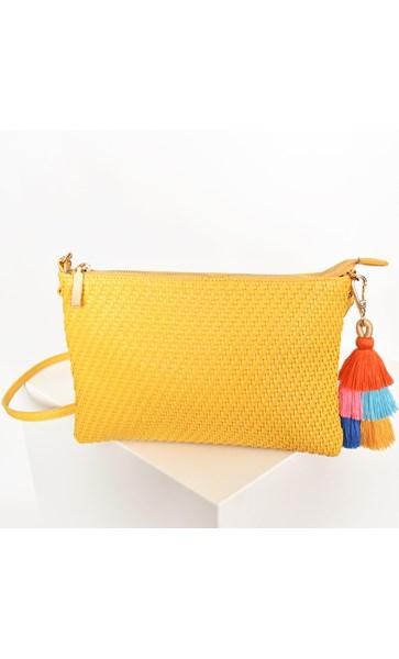 Weave & Double Tassel Cross Body Bag