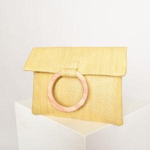 Clean Weave Zip Front Timber Handle Bag