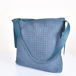 Faux Suede Weave Shoulder Bag