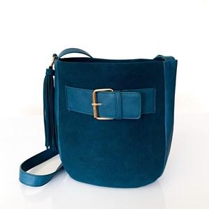 Faux Suede Buckle Curved Shoulder Bag