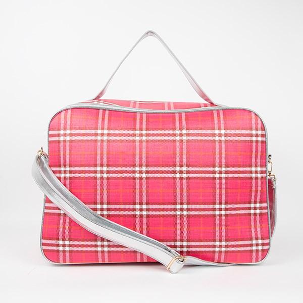Tartan Weave & Metallic Rectangle Overnighter Bag