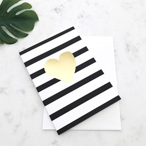 Elm GC1607 Heart gold/black & white stripe card