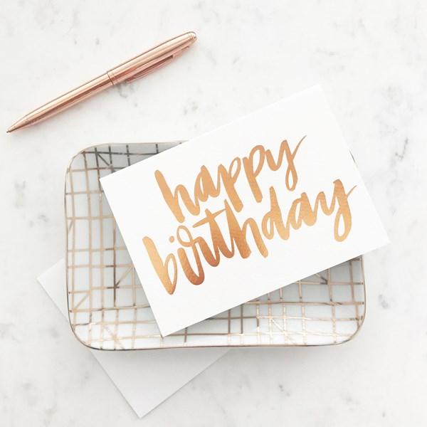 Elm GC1616 Happy Birthday Copper Card