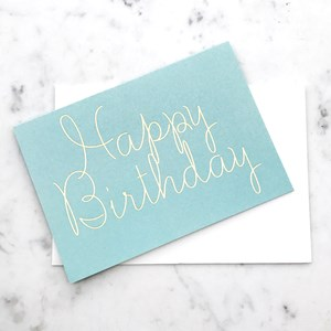 Elm G7 Happy Birthday Aqua Gold Card