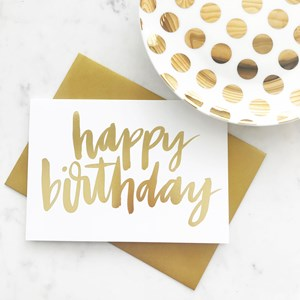 Elm G1 Happy Birthday Gold Lettering Card