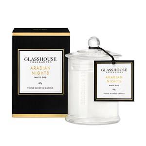 GLASSHOUSE Mini Candle Arabian Nights White Oud