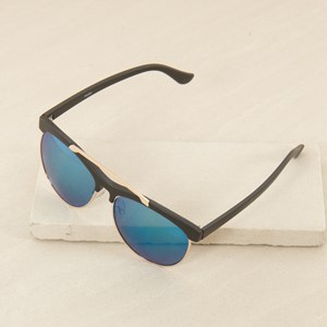 7463BR Half Frame w Bar Black Sunglasses