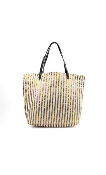 Woven Metallic Shopper Tote Bag